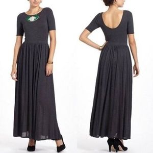 Anthropologie Bordeaux Scoopback Maxi Dress Gray
